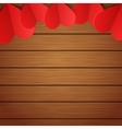 wooden background with red paper hearts vector image vector image