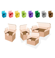 Colorful Set of Open Cardboard Boxes vector image