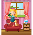 A girl and a cat in a sofa vector image