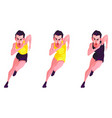 a set of slender girls in a sport suit that run vector image vector image