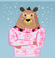 big bear hipster vector image vector image
