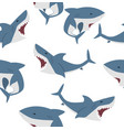 big shark flat seamless pattern vector image vector image