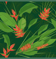 branch tropical heliconia flower leaves seamless vector image vector image