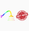 bright pixelated shower icon and grunge vector image vector image