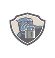 Bulldog Dog Mongrel Padlock Shield vector image vector image