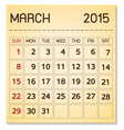 calendar 2015 03 March vector image vector image