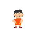 cartoon character of a serious asian girl vector image vector image
