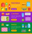 cartoon color school lunch food boxes banner vector image vector image