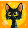 cartoon cute big eyed black cat vector image vector image