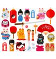 cartoon japanese symbols oriental traditional vector image vector image