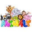 Cartoon of Word animal with cartoon animal vector image vector image