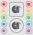 CD or DVD icon sign Symbols on the Round and vector image vector image