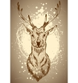 Christmas deer hand drawn vector image