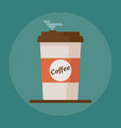 coffee cup icon with text coffee on blue vector image vector image