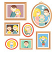 collection of cartoon family photos in frame vector image