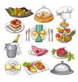 colored restaurant food set vector image