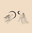 cute girl with long hair sleeps on moon vector image