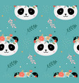 cute panda heads with flower crown vector image vector image