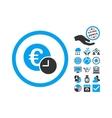 Euro Credit Flat Icon With Bonus vector image vector image