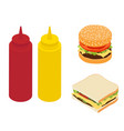 fast food double burger sandwich and ketchup vector image