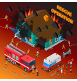 Fireman Isometric Template vector image vector image