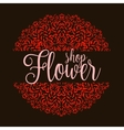 Flowers shop logo with red mandala vector image