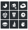 Food poisoning icons set vector image vector image