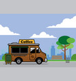 food truck selling coffe on the park vector image vector image
