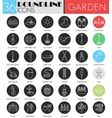 Garden tools circle white black icon set vector image vector image