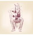 guitarist hand drawn llustration realistic sketch vector image