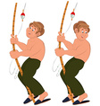 Happy cartoon man standing in green pants topless vector image vector image