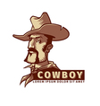 head with cowboy hat vector image