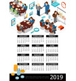 isometric 2019 year business calendar template vector image vector image