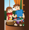 kids painting easter eggs vector image vector image