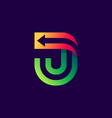 letter j logo with arrow inside vector image vector image