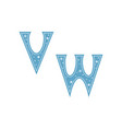 letters v w decorated with snowflakes isolated on vector image vector image