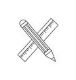line ruler and pencil school tool education vector image vector image