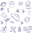 many toy kids doodle art vector image vector image