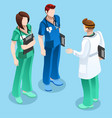 medical doctor talking with two nurses isometric vector image vector image