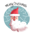 Merry christmas of santa claus face vector image