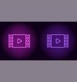 neon cinema film in purple and violet color vector image vector image