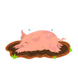 pig is bathed in mud clip art vector image