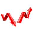 red indication arrows up and down 3d signs vector image vector image