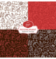 Restaurant seamless patterns in thin line style vector image vector image