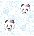 seamless pattern with cute panda girls and roses vector image vector image