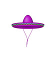 sombrero hat in purple design vector image vector image