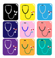 stethoscope medical device icon with pills on whit vector image
