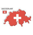switzerland map and flag modern simple line vector image
