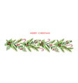 watercolor christmas garland with fir vector image vector image