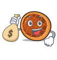 with money bag baket pie character cartoon vector image vector image